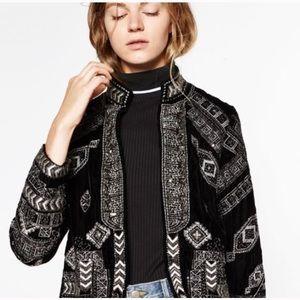 Zara Metallic Embroidered Jacket